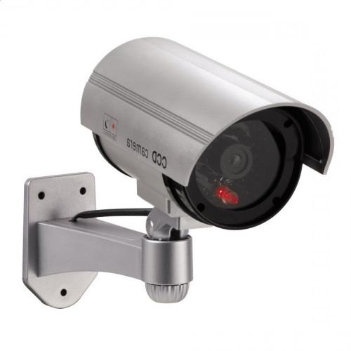 Atrapa kamery tubowej CCD LED srebrna